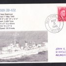 USS HANSON DD-832 BR# Cancel 1946 Naval Cover MHcachets ONLY 1 MADE