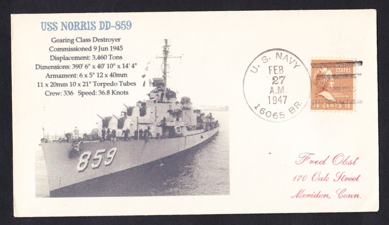 USS NORRIS DD-859 BR# Cancel 1947 Naval Cover MHcachets ONLY 1 MADE