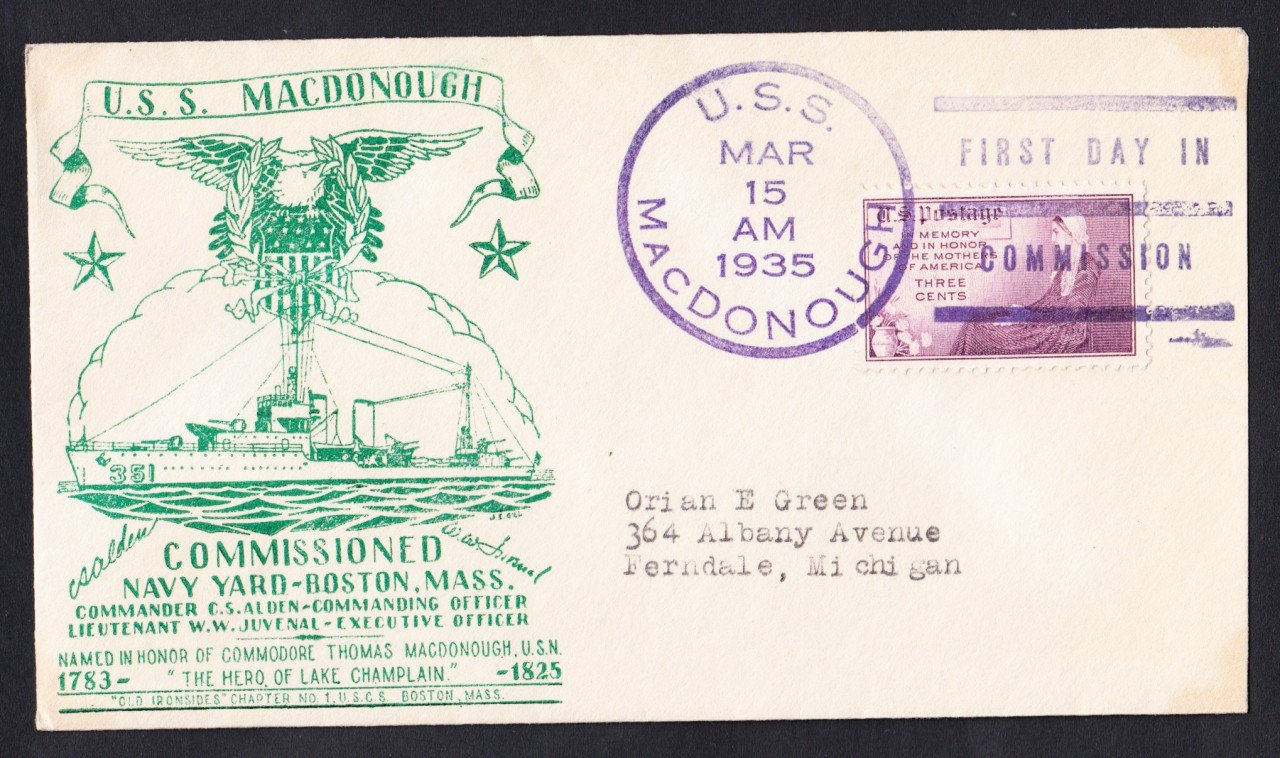 USS MacDONOUGH DD-351 Commissioning Fancy Cancel 1935 Naval Cover