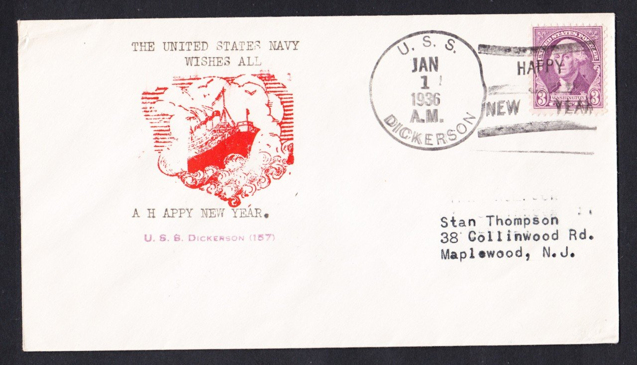 USS DICKERSON DD-157 New Years 1936 Naval Cover