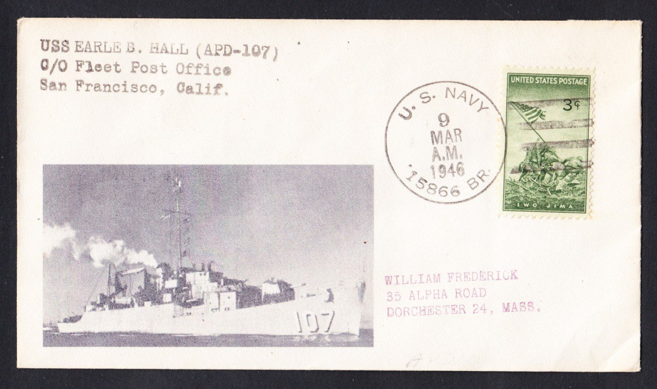 USS EARLE B. HALL APD-107 BR# Cancel 1946 Naval Cover MHcachets ONLY 1 MADE