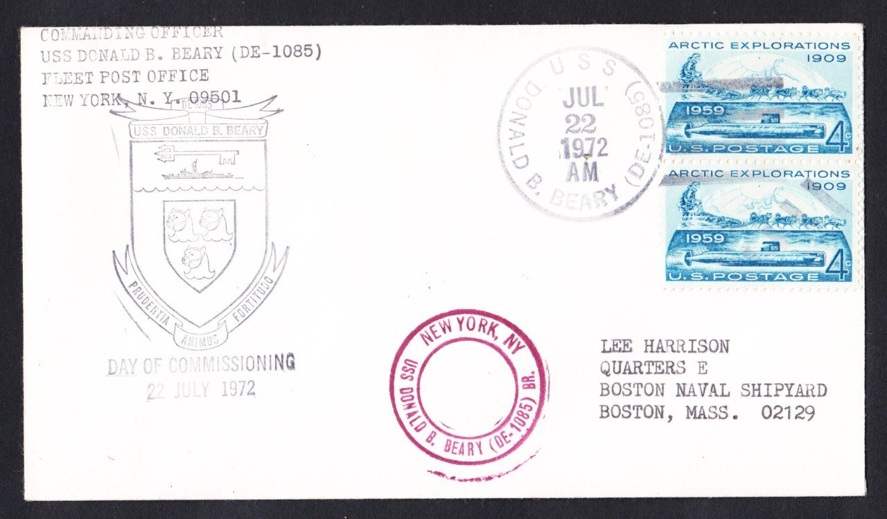 USS DONALD B. BEARY DE-1085 Commissioning Naval Cover