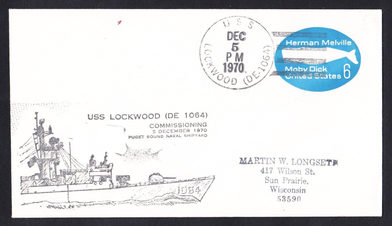 USS LOCKWOOD DE-1064 Commissioning Naval Cover