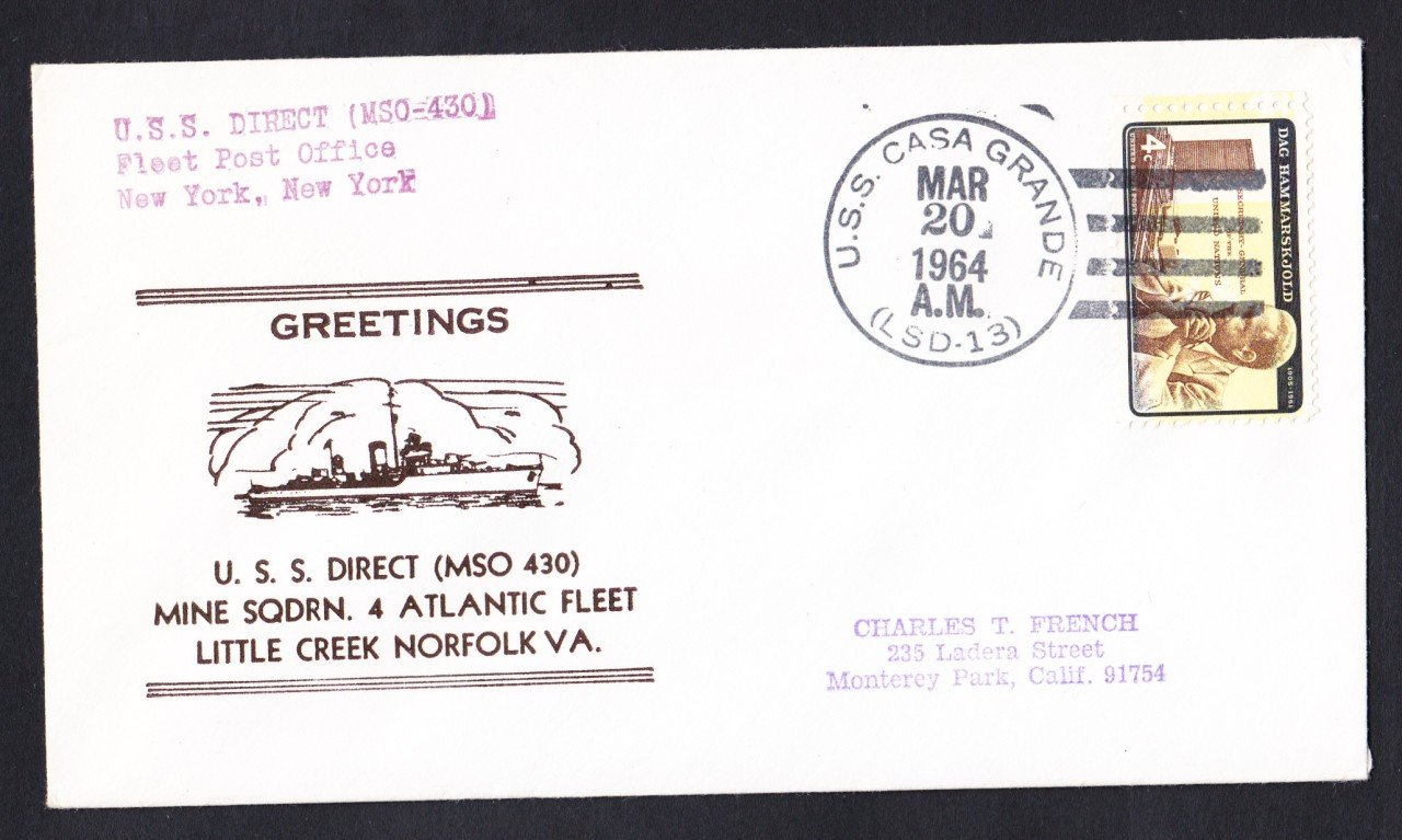 USS DIRECT MSO-433 Greetings From Norfolk VA Naval Cover