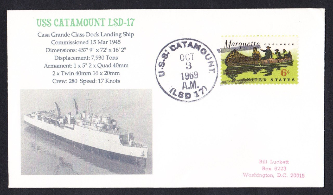 USS CATAMOUNT LSD-17 Naval Cover MHcachets ONLY 1 MADE