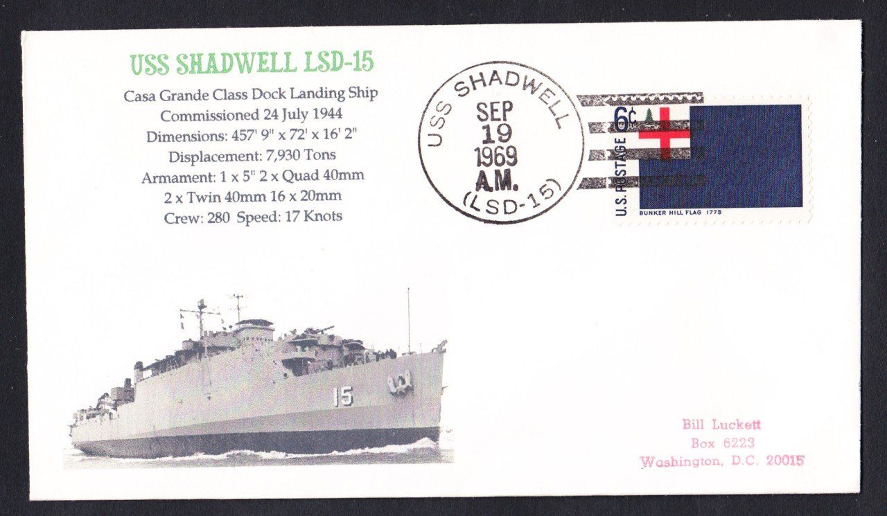 USS SHADWELL LSD-15 Naval Cover MHcachets ONLY 1 MADE