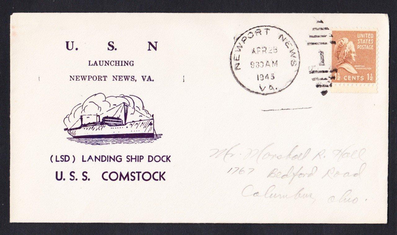 USS COMSTOCK LSD-19 Launching 1945 Naval Cover
