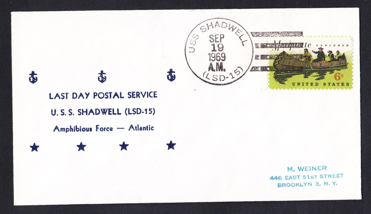 USS SHADWELL LSD-15 Last Day Postal Service Naval Cover