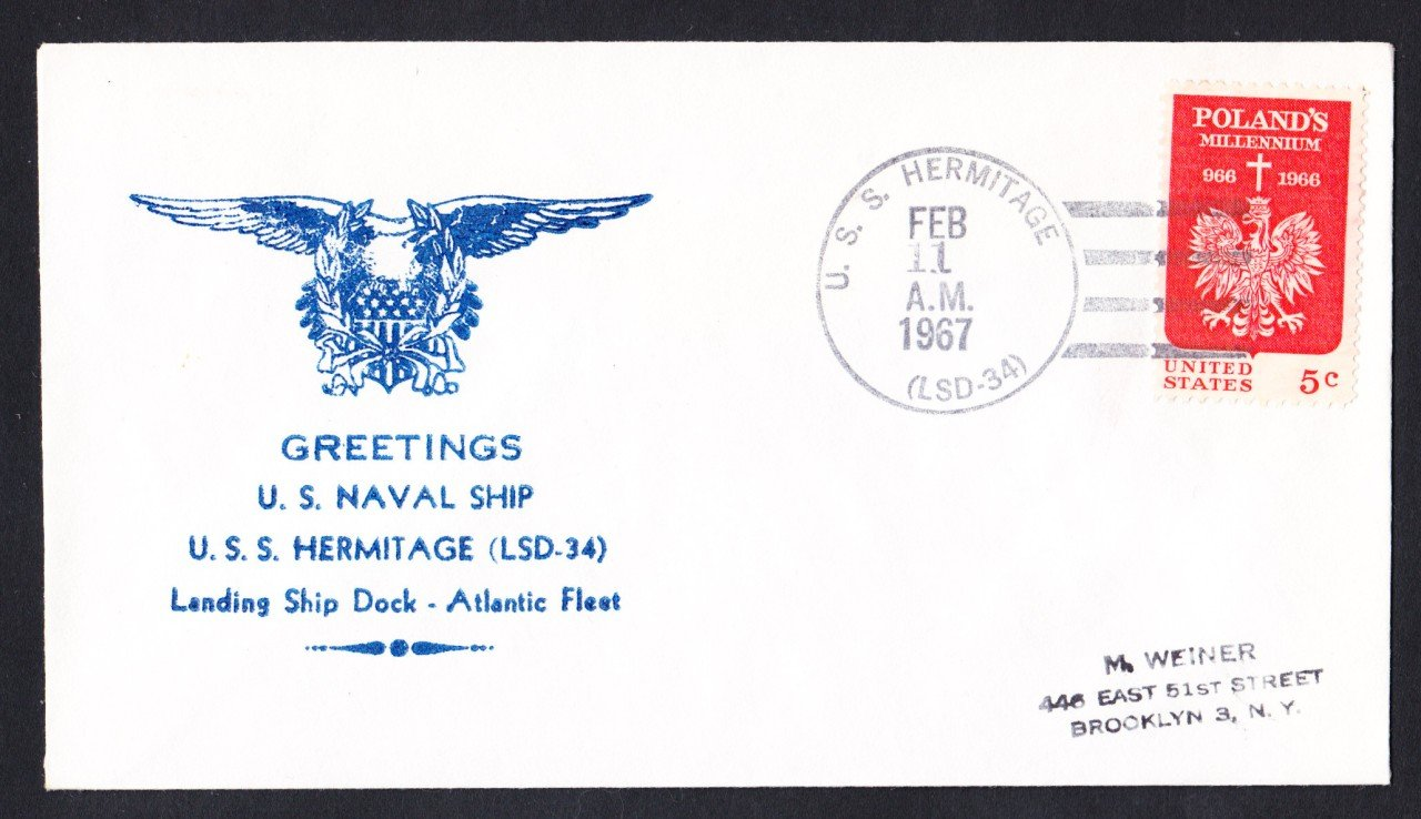 USS HERMITAGE LSD-34 Greetings from Norfolk VA Naval Cover