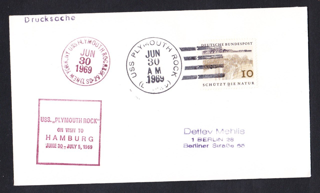 USS PLYMOUTH ROCK LSD-29 Visit to Hamburg Germany Naval Cover