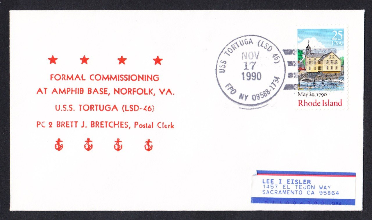 USS TORTUGA LSD-46 Commissioning Naval Cover