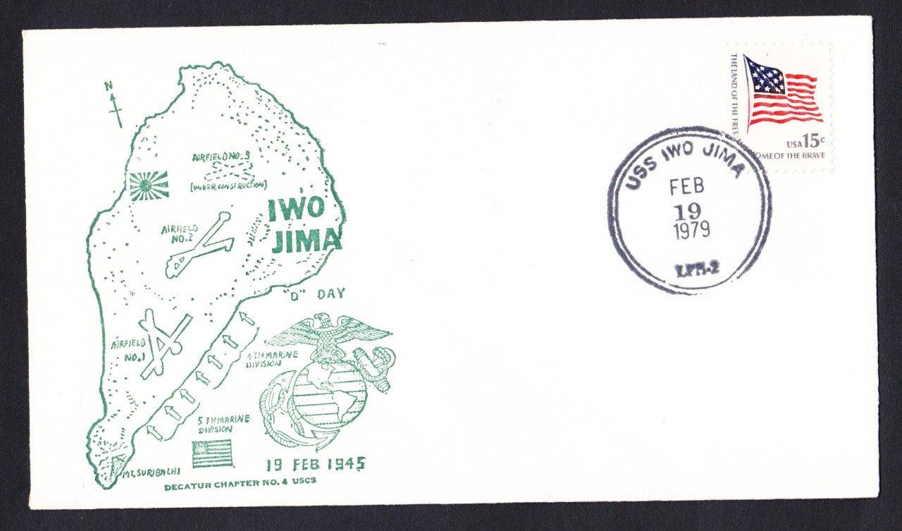 USS IWO JIMA LPH-2 Fancy Cancel Battle of Iwo Jima Anniv. Naval Cover