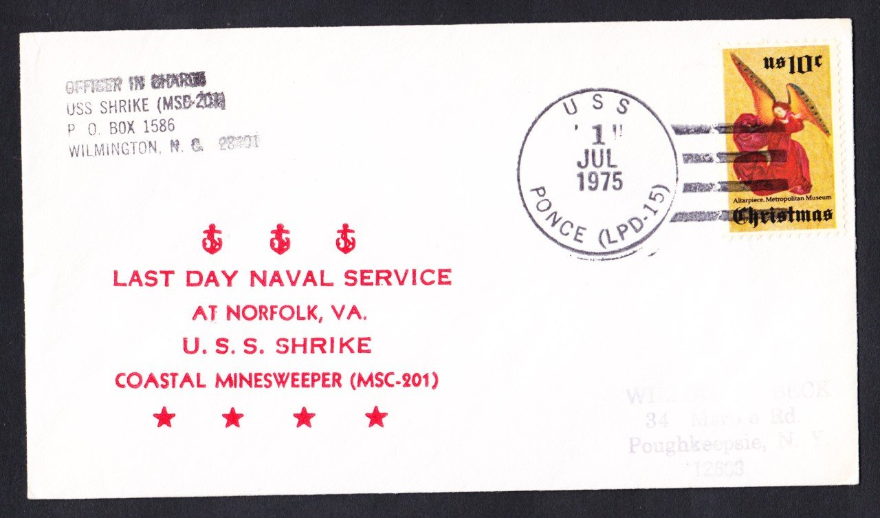 USS SHRIKE MSC-201 Decommissioning Naval Cover