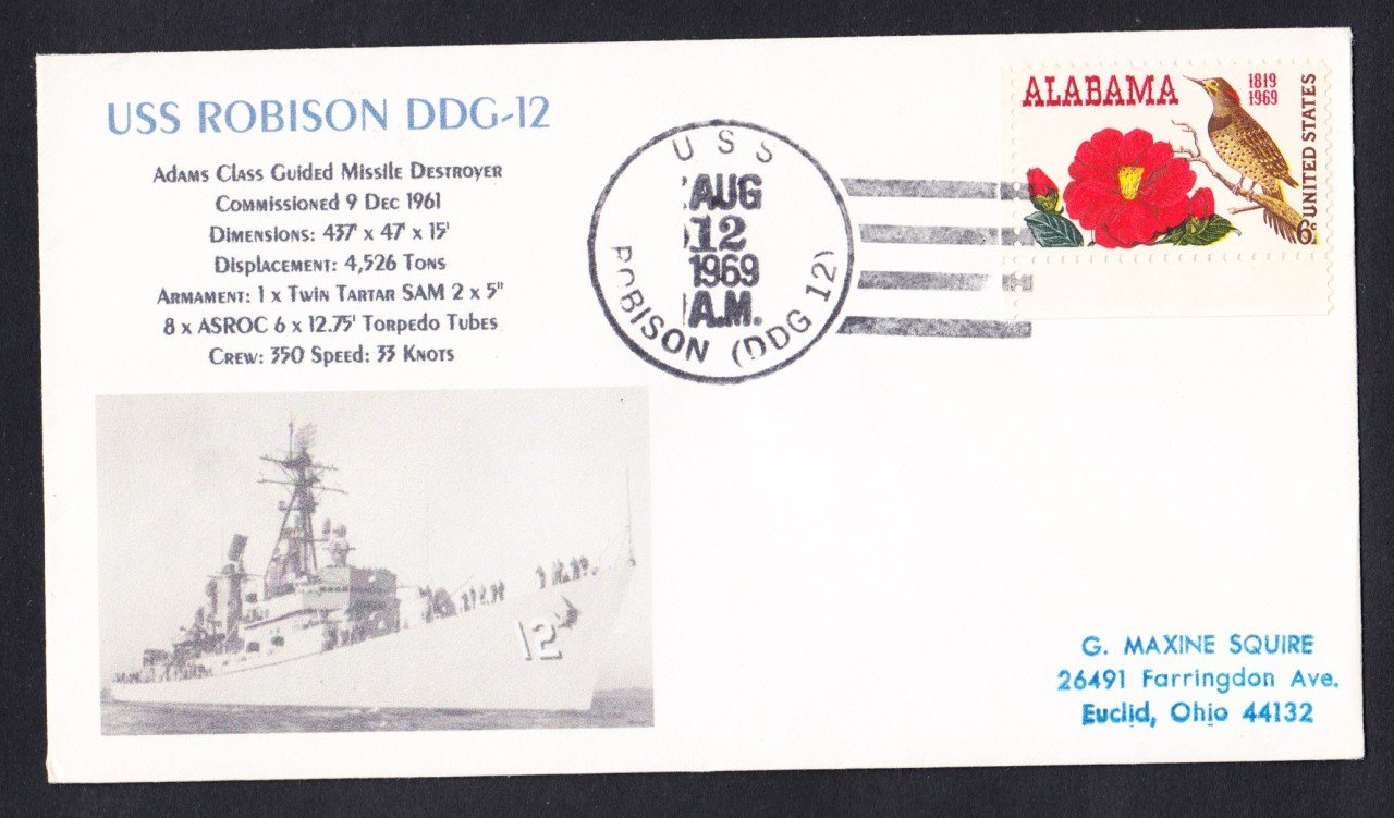 USS ROBISON DDG-12 Naval Cover MHcachets ONLY 1 MADE