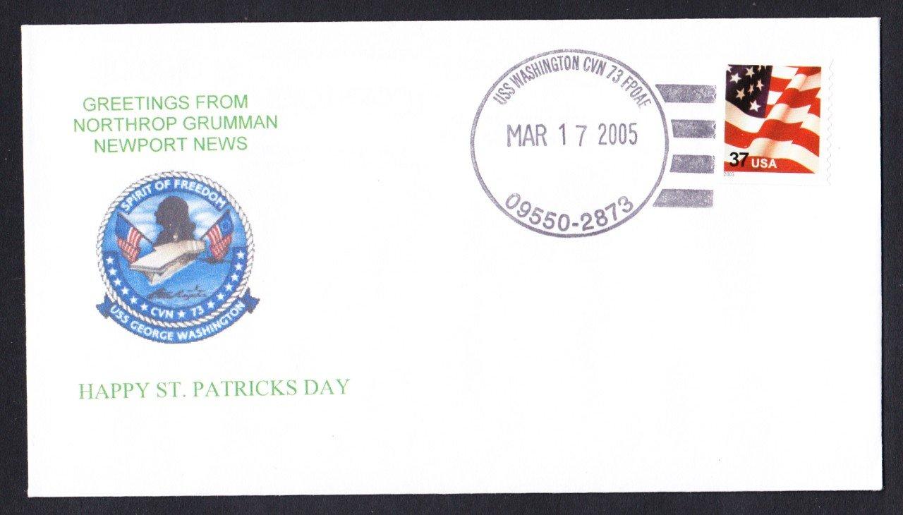 USS WASHINGTON CVN-73 St. Patrick's Day Naval Cover