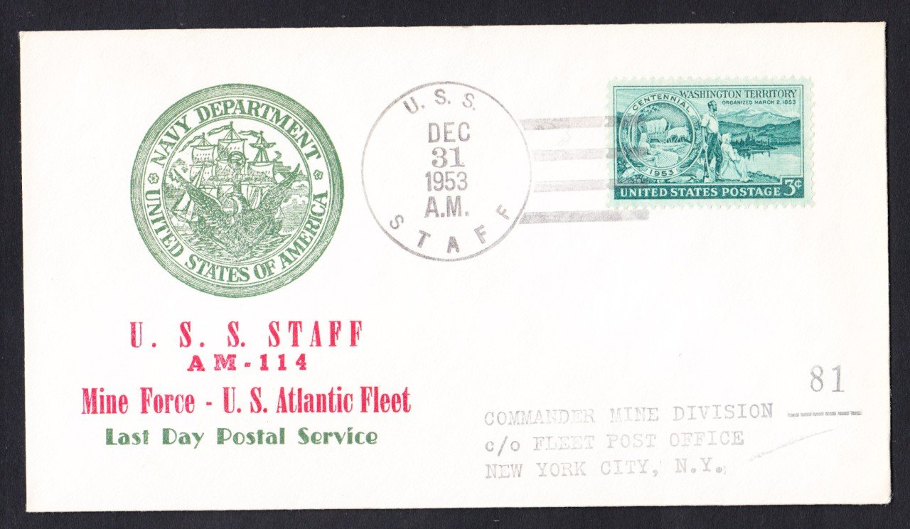 USS STAFF AM-114 Last Day Postal Service Naval Cover