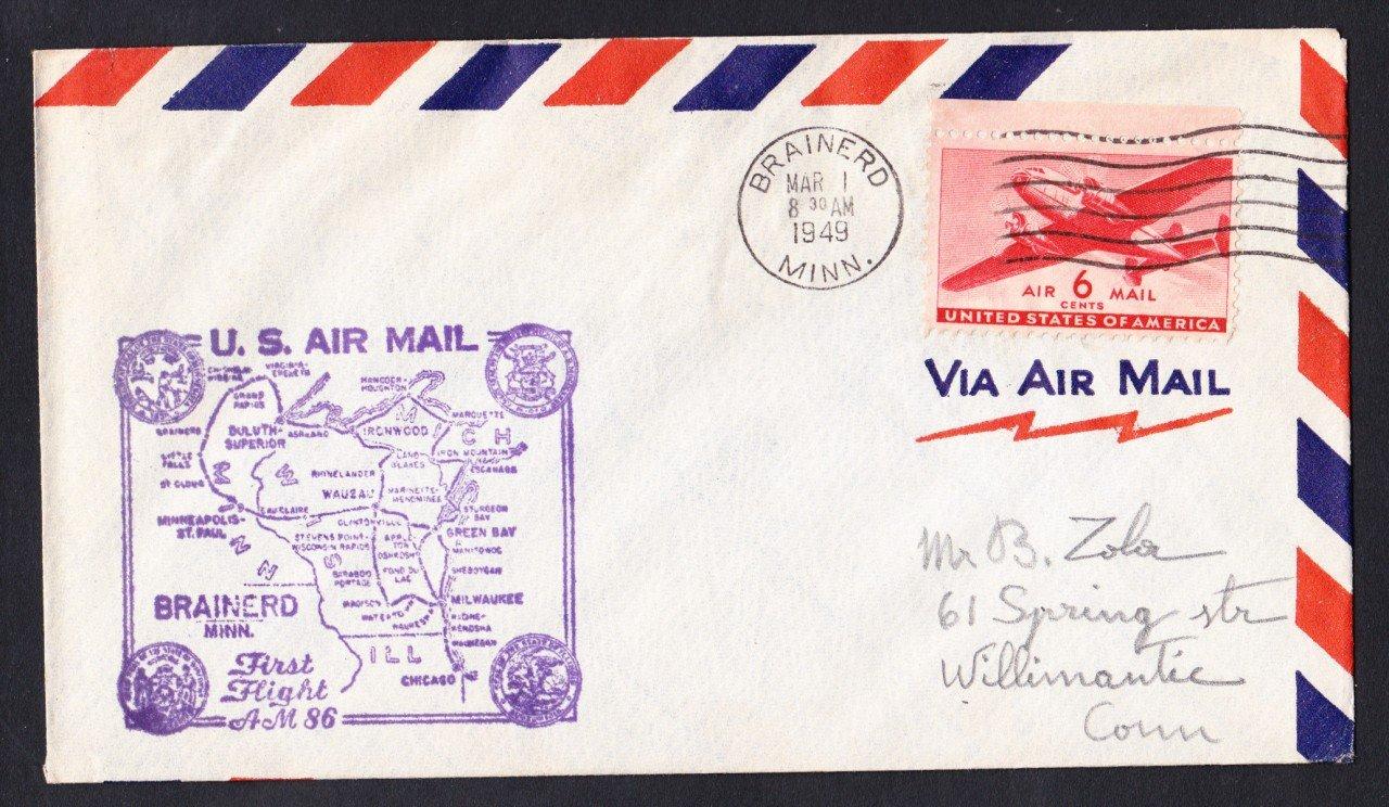 AM86 Brainerd MN to Hibbing MN 1949 First Flight Cover