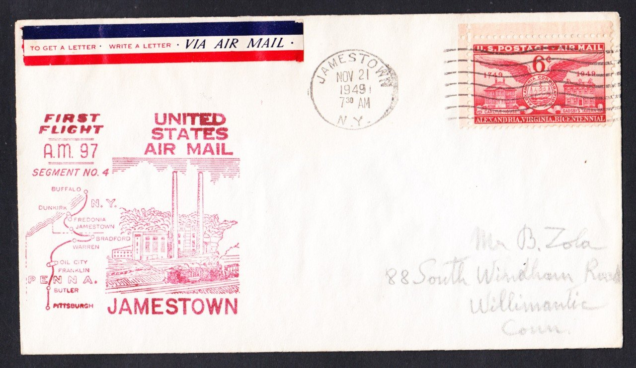 AM97 Jamestown NY to Buffalo NY 1949 First Flight Cover