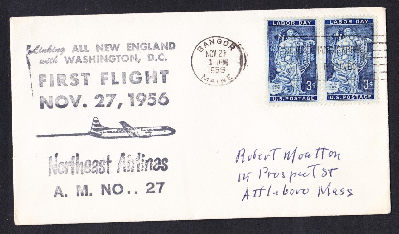 AM27 NORTHEAST AIRLINES Bangor ME to Wash DC 1956 First Flight Cover