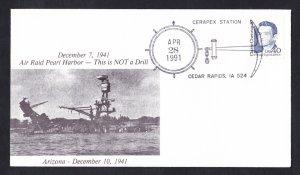 USS ARIZONA BB-39 Pearl Harbor Anniversary Naval Cover