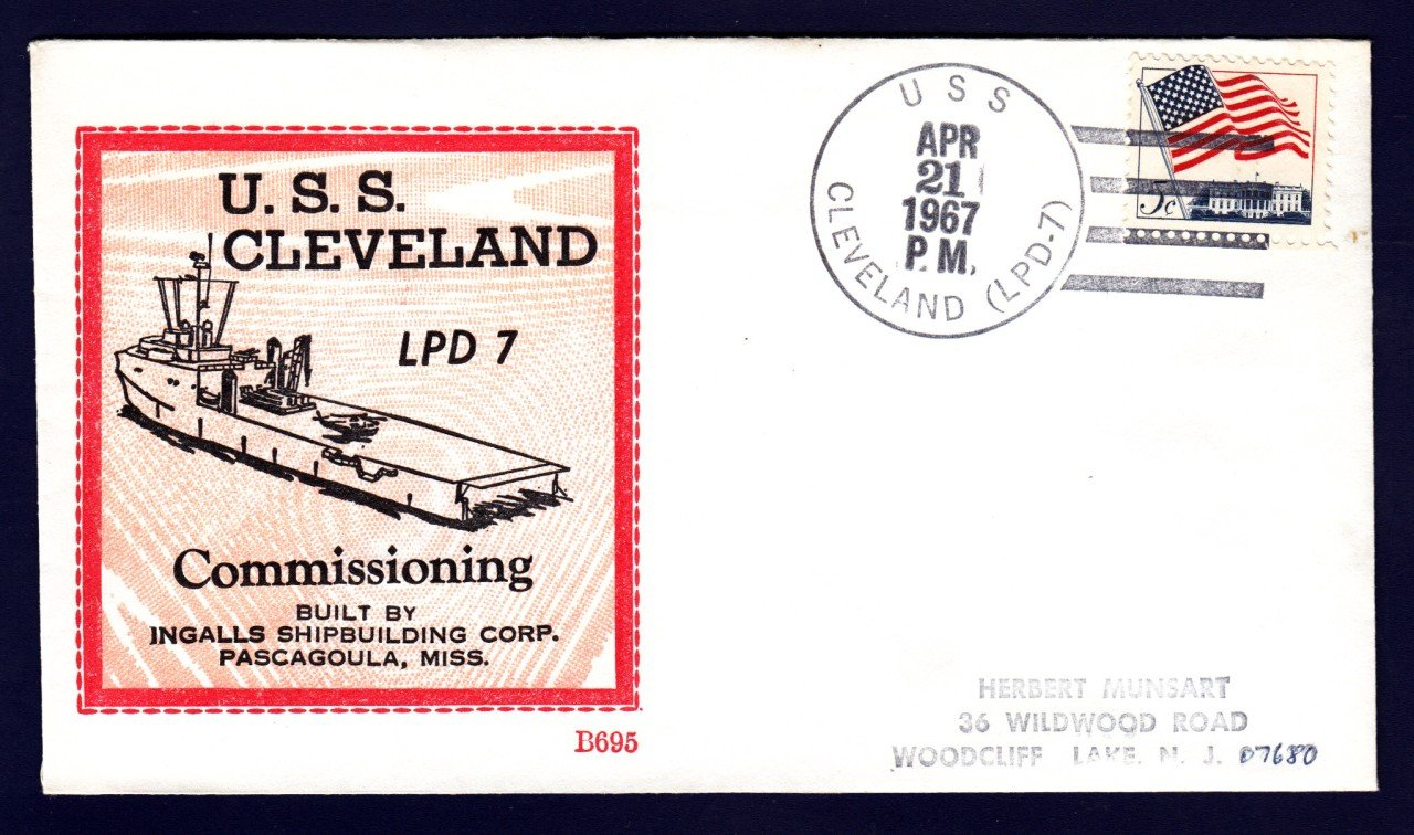 Amphibious Transport USS CLEVELAND LPD-7 Commissioning BECK #B695 Naval Cover