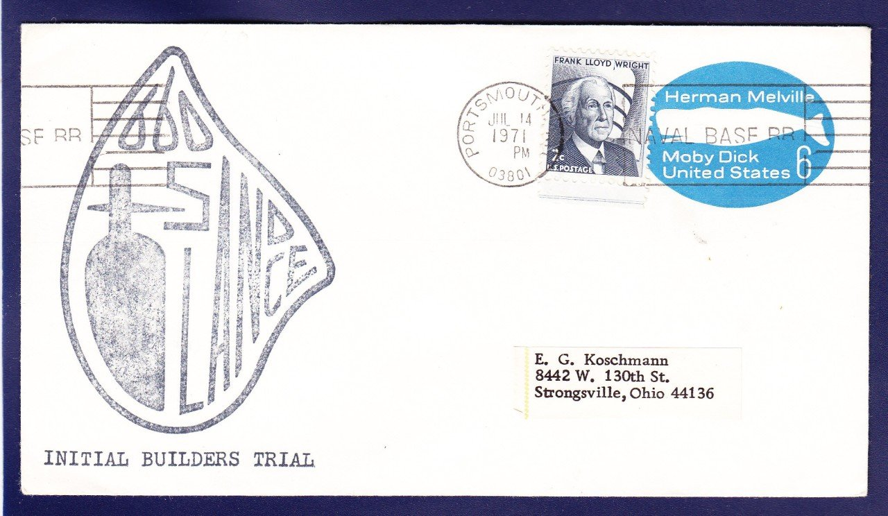 USS SANDLANCE SSN-660 Sea Trails Naval Submarine Cover