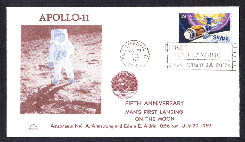 APOLLO 11 MOON LANDING 5th Anniversary 1974 Space Cover