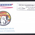 USS SAN FRANCISCO SSN-711 30th Anniversary Naval Submarine Cover MhCachets ONLY 6 MADE