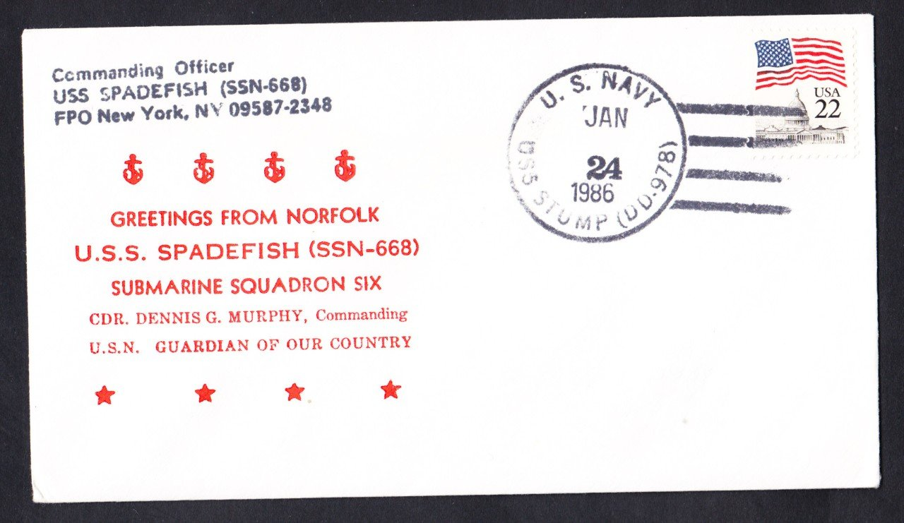 USS SPADEFISH SSN-668 Welcome To Norfolk Naval Submarine Cover