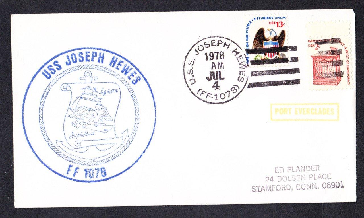 USS JOSEPH HEWES FF-1078 Port Everglades Florida Naval Cover