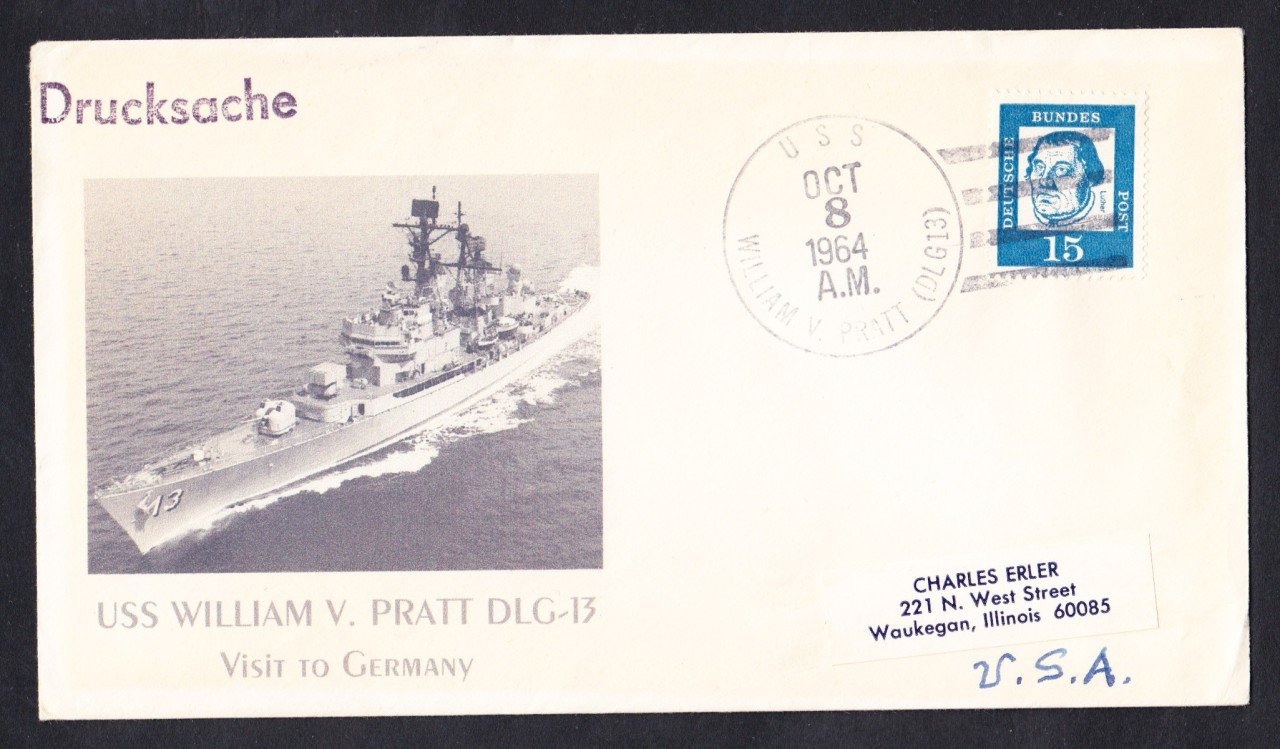 USS PRATT DLG-13 Germany Visit Naval Cover MhCachets Only 1 Made