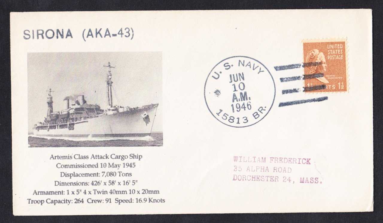 USS SIRONA AKA-43 BR# Cancel 1946 Naval Cover MhCachets Only 1 Made