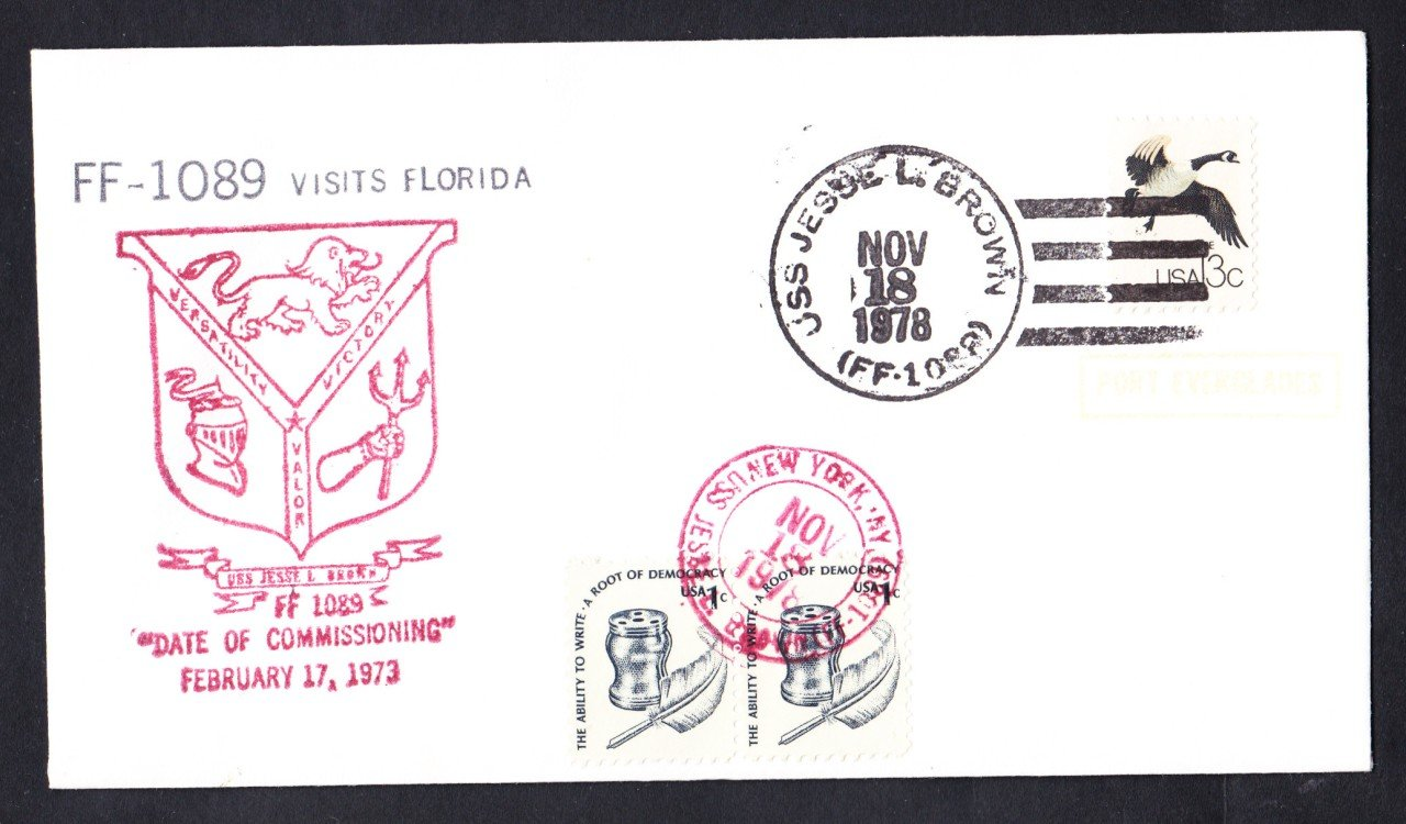 USS JESSE L. BROWN FF-1089 Port Everglades FL Naval Cover