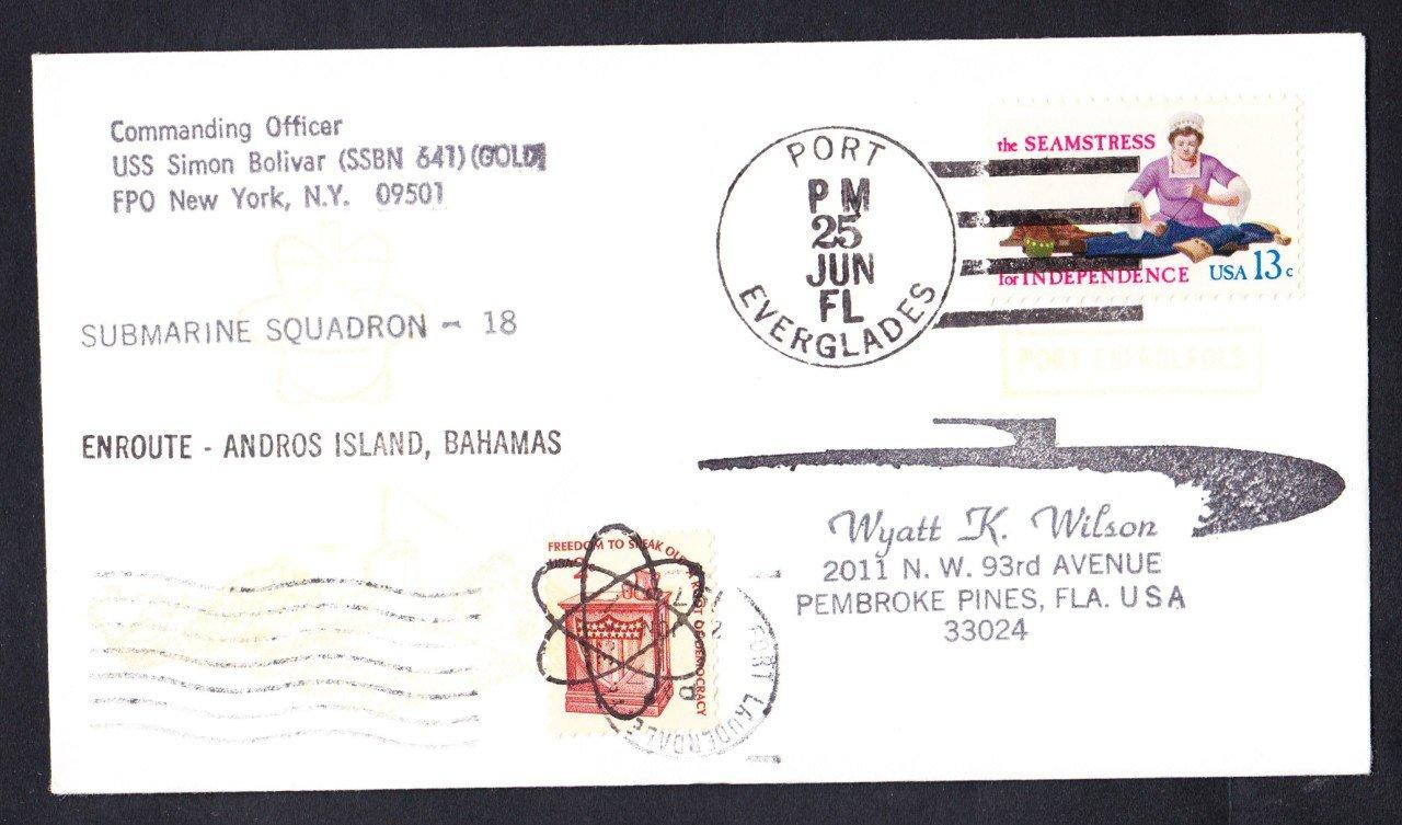USS SIMON BOLIVAR SSBN-641 Bahamas to Port Everglades Naval Submarine Cover