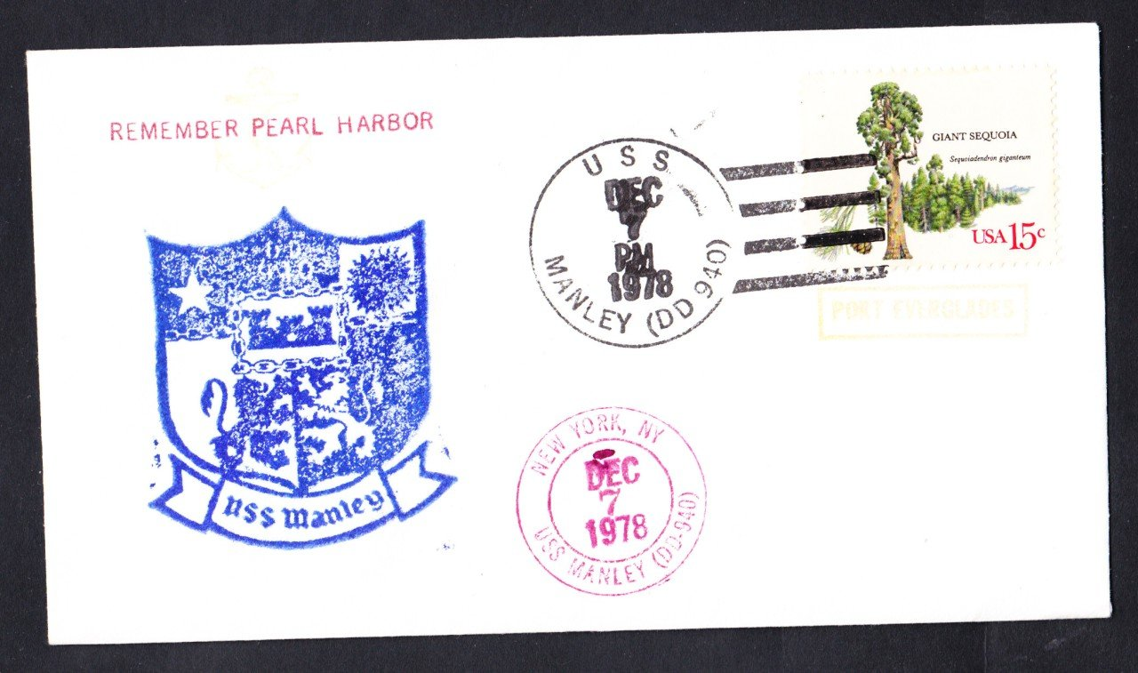 USS MANLEY DD-940 Pearl Harbor Day Port Everglades FL Naval Cover