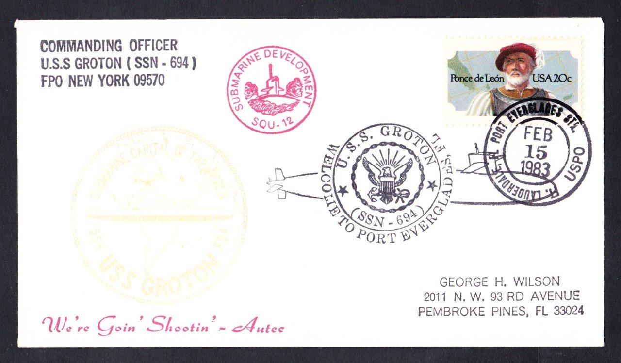 USS GROTON SSN-694 Port Everglades FL Naval Submarine Cover