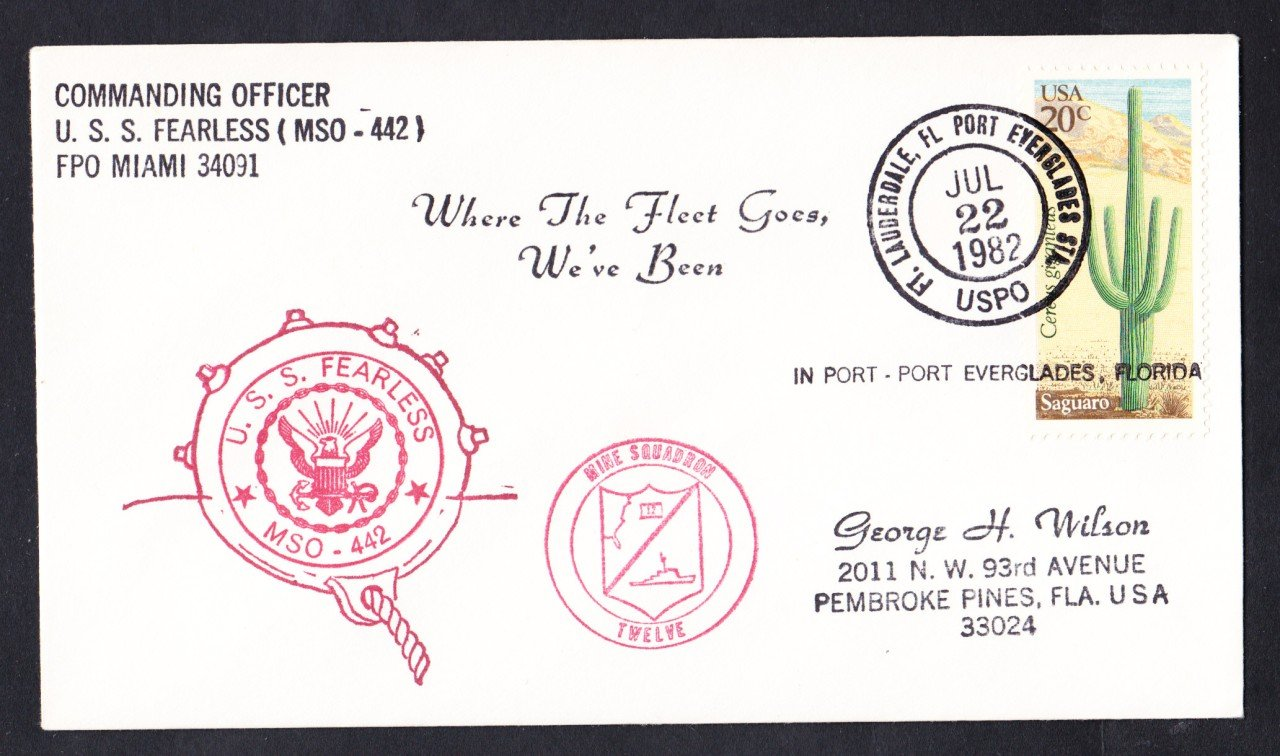 USS FEARLESS MSO-442 Port Everglades FL Naval Cover