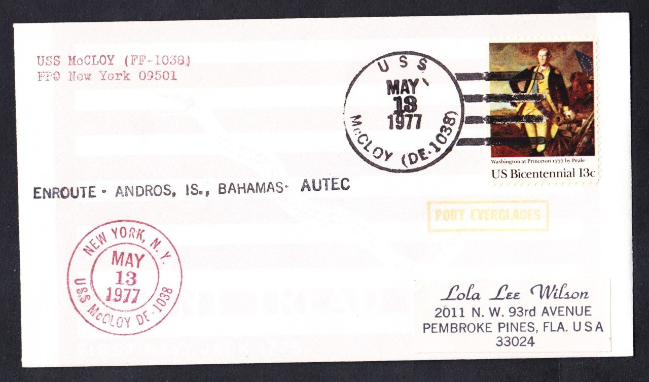 USS McCLOY FF-1038 Bahamas to Port Everglades FL Naval Cover