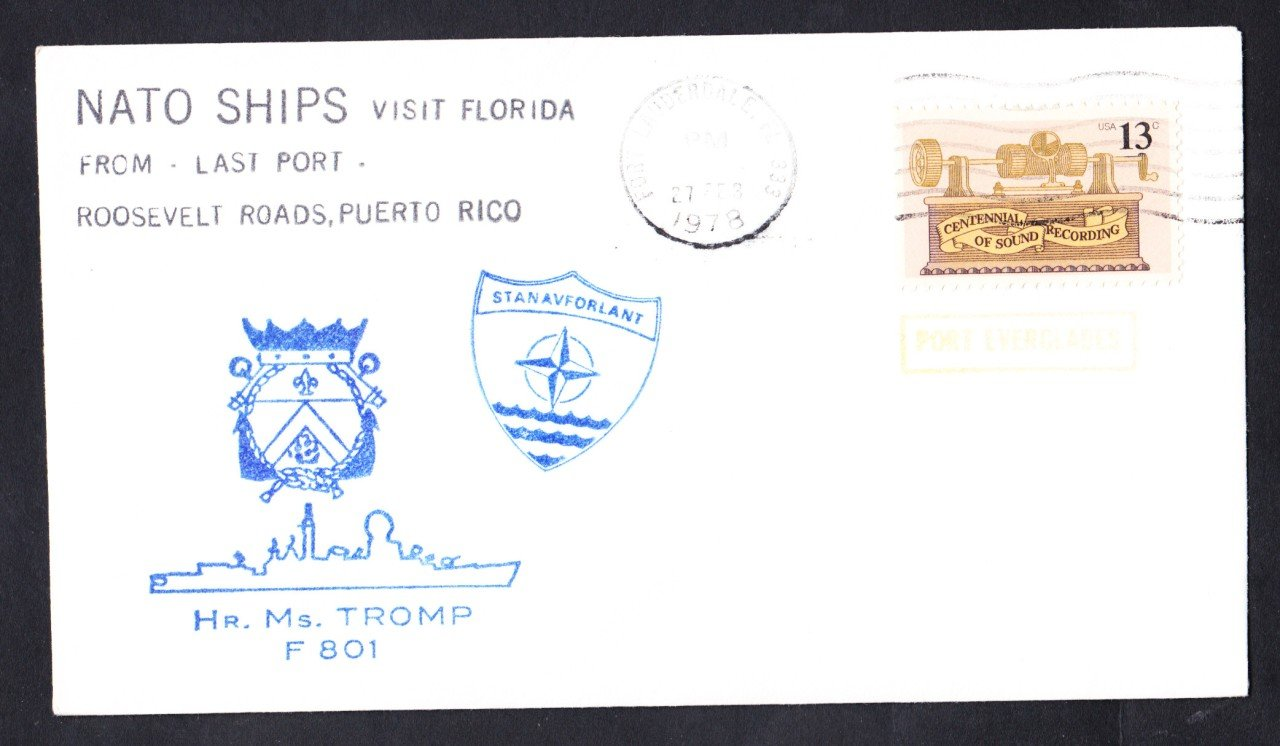 Dutch Navy Ship HR. MS. TROMP F-801 NATO Fleet Port Everglades Fl Naval Cover