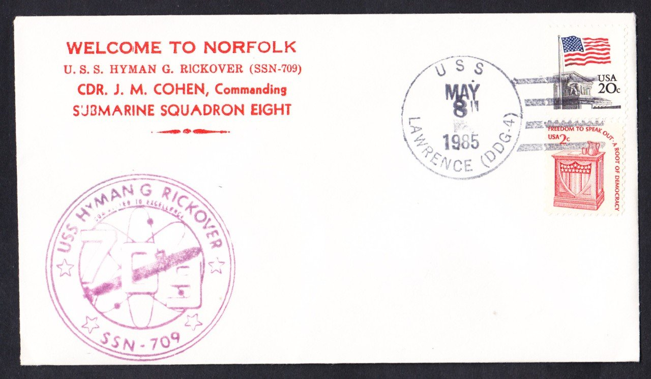 USS HYMAN G. RICKOVER SSN-709 Welcome to Norfolk VA Naval Submarine Cover