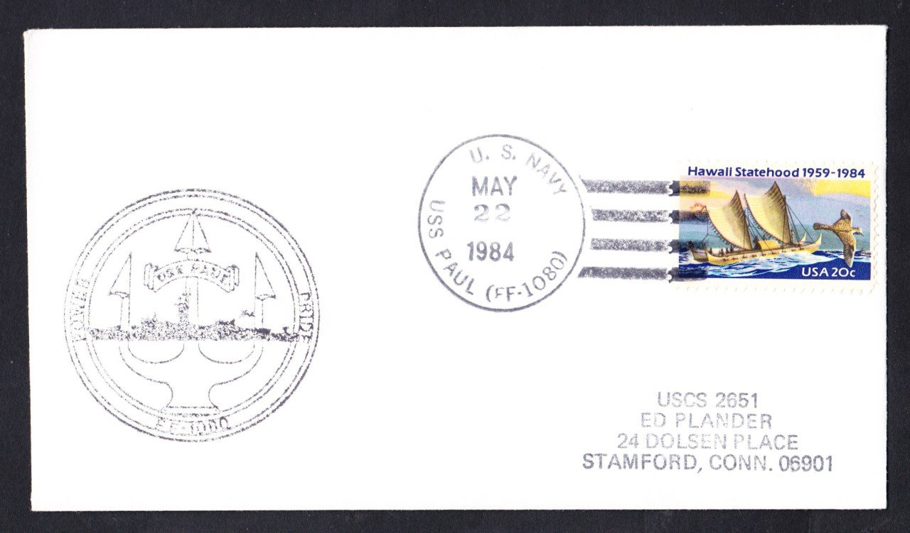 USS PAUL FF-1080 Ship's Cachet Naval Cover