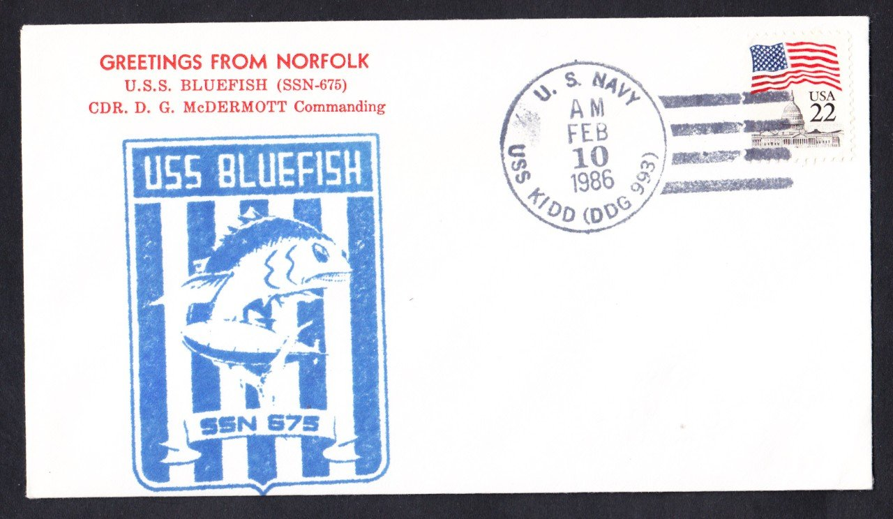 USS BLUEFISH SSN-675 Welcome To Norfolk Naval Submarine Cover