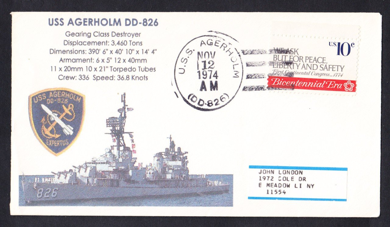USS AGERHOLM DD-826 Naval Cover MhCachets Only 1 Made