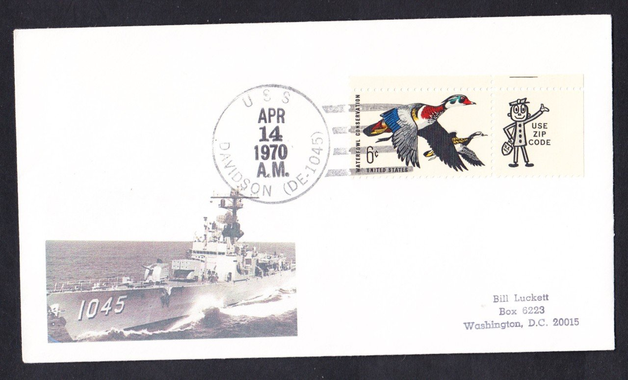 USS DAVIDSON DE-1045 Naval Cover MhCachets Only 1 Made
