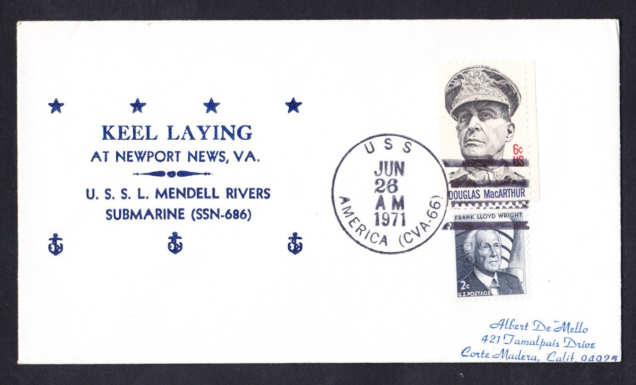 USS L. MENDEL RIVERS SSN-686 Keel Laying Nicholson Naval Submarine Cover