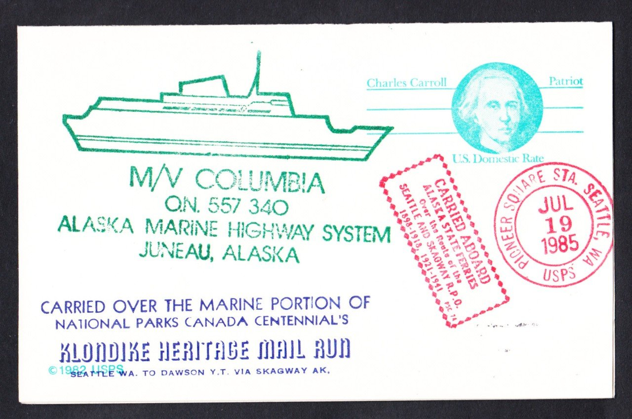 Merchant Ship Ferry M/V COLUMBIA Wash to Alaska Ship Cover