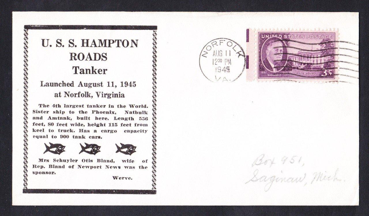 WWII Merchant Ship SS HAMPTON ROADS Launching Ship Cover