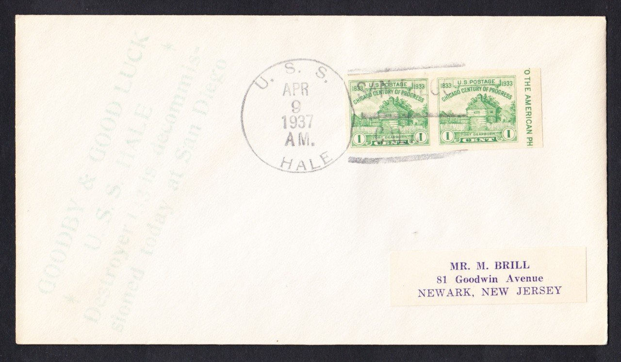 USS HALE DD-133 Decommissioning 1937 Naval Cover