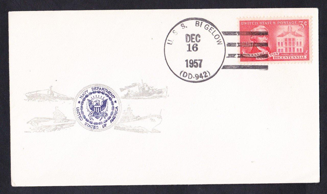 USS BIGELOW DD-942 1957 Naval Cover