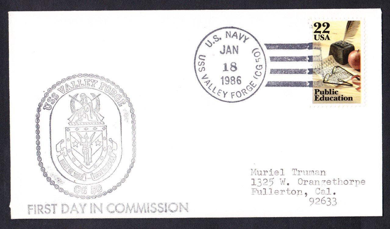 USS VALLEY FORGE CG-50 Commissioning Naval Cover